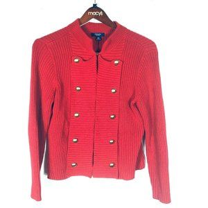 Chaps Ribbed RED Military Cardigan Sweater Size L